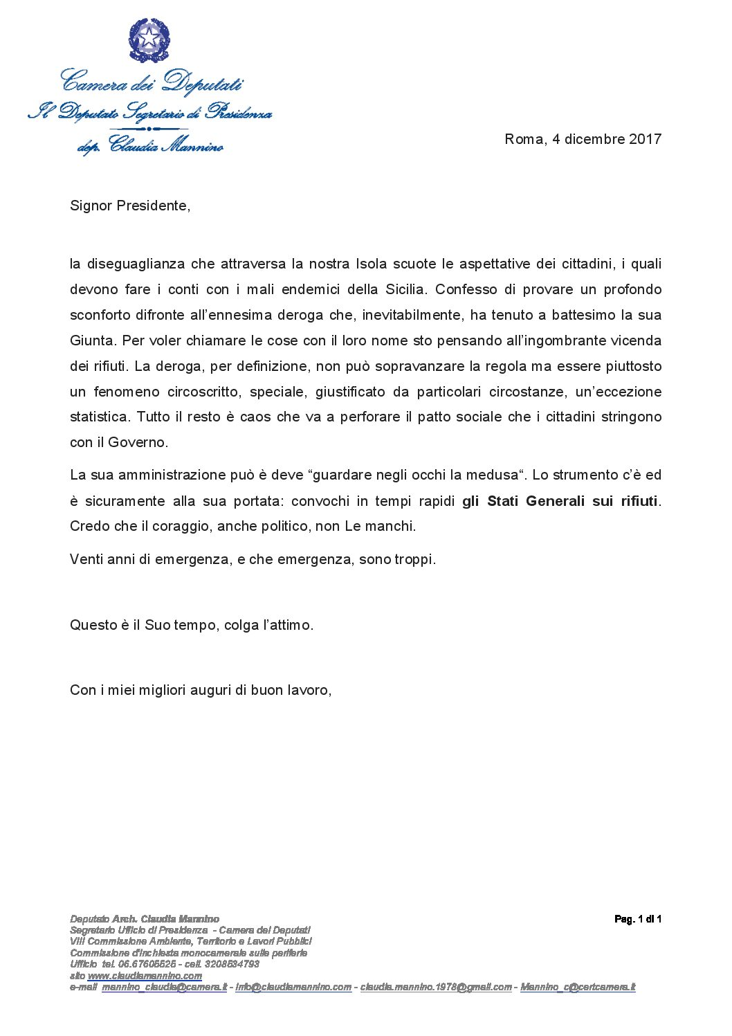 Lettera al Presidente Musumeci: Bisogna convocare gli Stati Generali dei Rifiuti in Sicilia