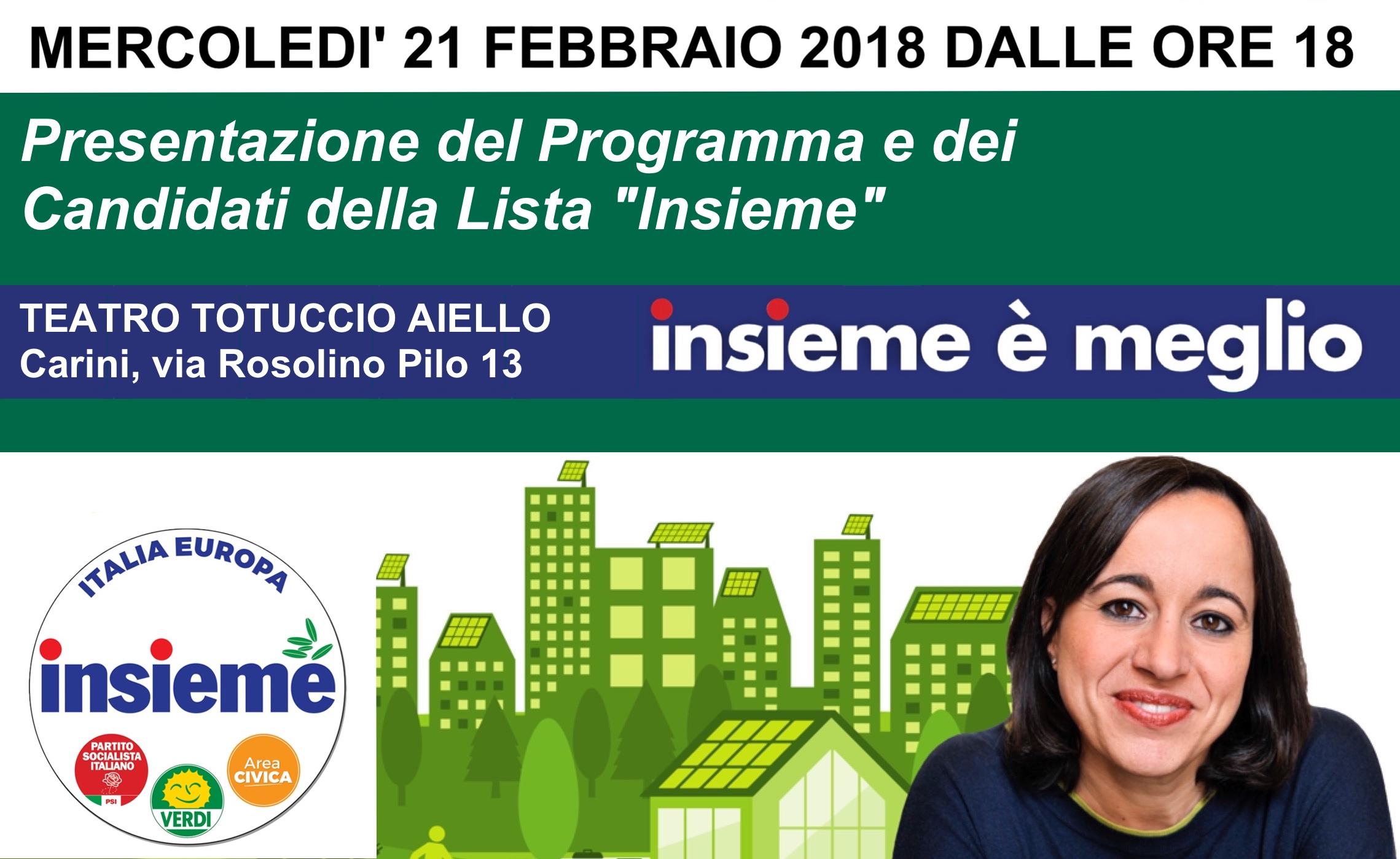 Presentazione del programma e dei candidati di insieme a for Insieme del programma della casa